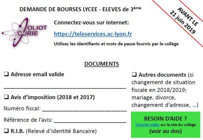 Demande De Bourses College Joliot Curie